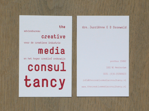 Corporate Identity for 'The Creative Media Consultancy', Amsterdam (business card) / © Gabriele Franziska Götz