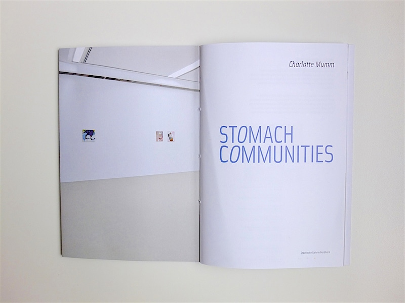 Charlotte Mumm: 'Stomach Communities', artist book, solo exhibition at Städtische Galerie Nordhorn (Germany), 2016 (title page) / © Gabriele Götz