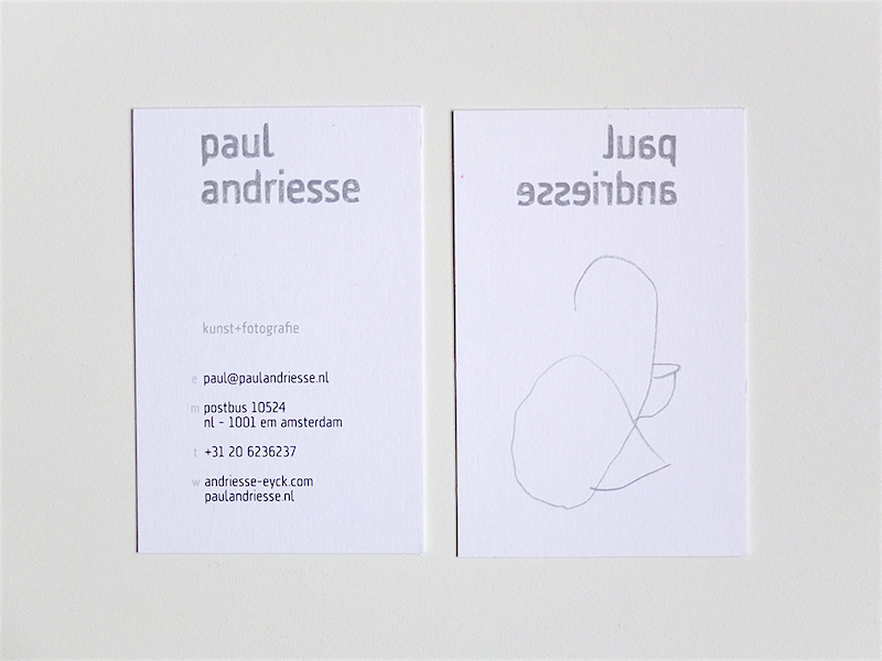 Galerie Andriesse-Eyck / business card 'Paul Andriesse' (front + back) / © Gabriele Götz