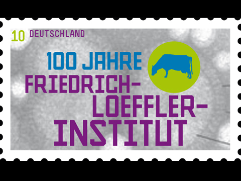 special issue stamp (commemorative stamp) »Loeffler-Institut« for 'Deutsche Post' / © Gabriele Götz